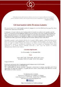 Associazione Anthropos Bologna Incontri su Gli inni Tantrici dello Śivaismo Kasmiro