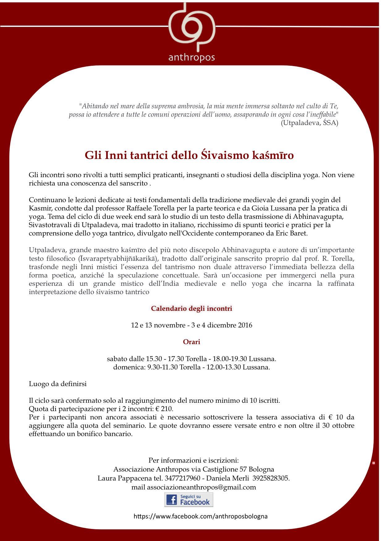 Associazione Anthropos BolognaIncontri su Gli inni Tantrici dello Śivaismo Kashmiro