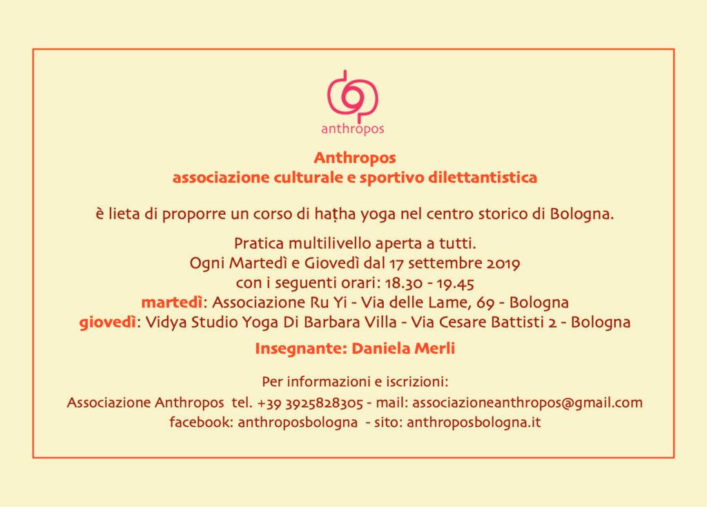 Giorni e orari corsi haṭha yoga Anthropos Bologna